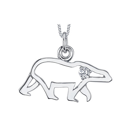 White Gold Polar Bear & Diamond Pendant