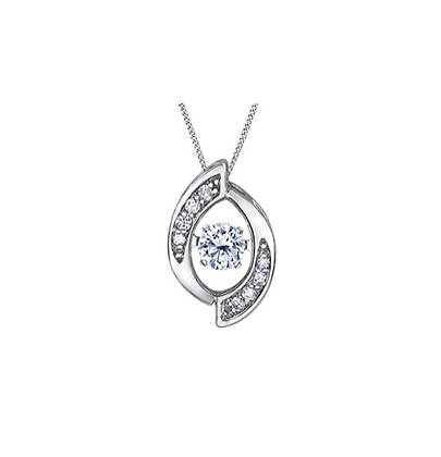 Tapered Oval Pendant With Pulsating Centre  Diamond