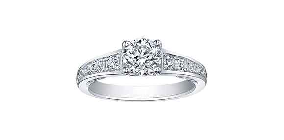Brilliant Cut Diamond Ring with Tapered Diamond Band