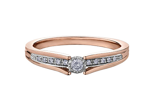 Rose Gold Solitaire Ring with Diamond Shank