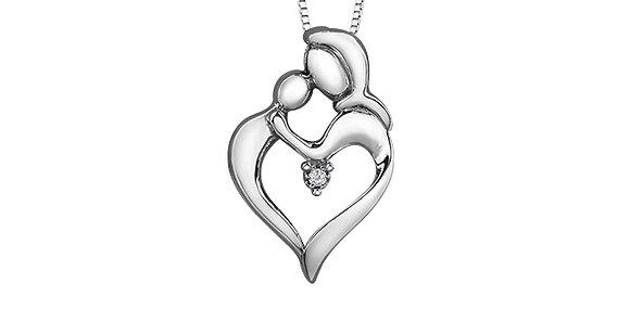 Silver Mother's Love Canadian Diamond Pendant