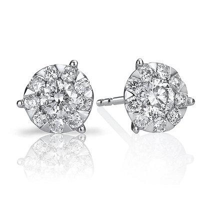 Round Bouquet Style Diamond Studs
