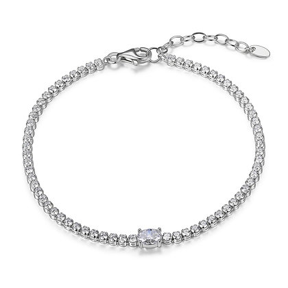 Silver Cubic Zirconia Tennis Bracelet With Oval Accent