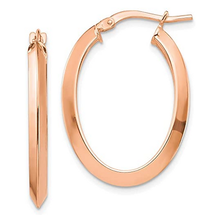 Rose Gold Large Oval Hoops