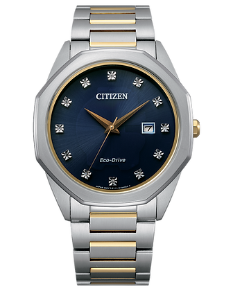 Citizen - Blue Dial with Two Tone Silver and Gold Metal Band