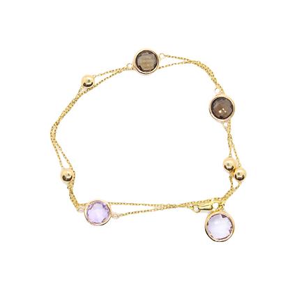Round Amethyst & Quartz Necklace