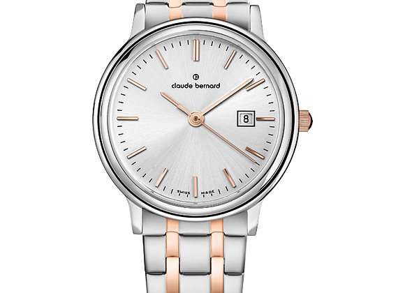 Silver & Pink Metal Watch by Claude Bernard