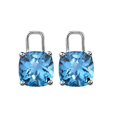 Cushion Cut Blue Topaz Earring Enhancers
