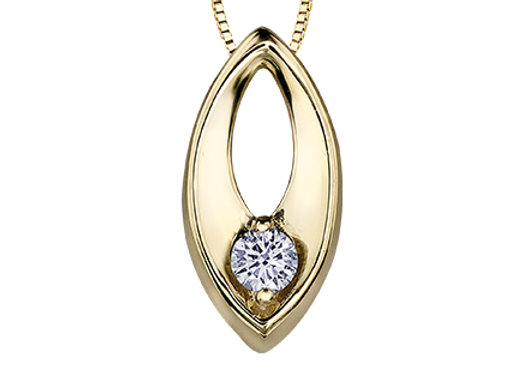 Yellow Gold Open Marquise Pendant with Canadian Diamond
