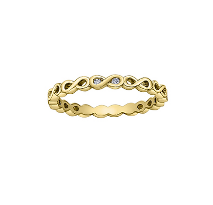 Yellow Gold Infinity & Diamond Stackable Ring