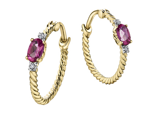 Yellow Gold Pink Topaz Rope Hoops