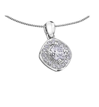 Round Canadian Diamond Pendant With Cushion Diamond Halo