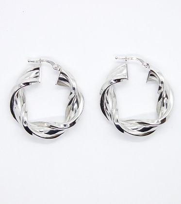 White Gold Thick Twist Hoops