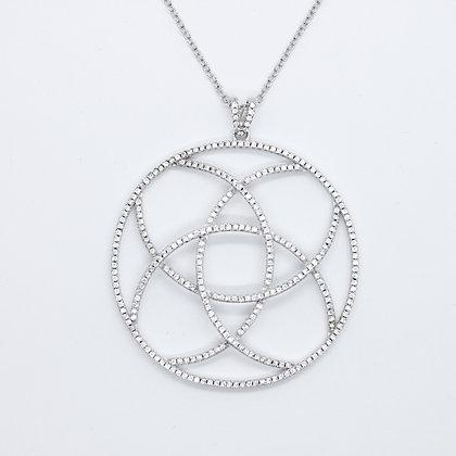 Silver & Cubic Zirconia Large Circle Pendant
