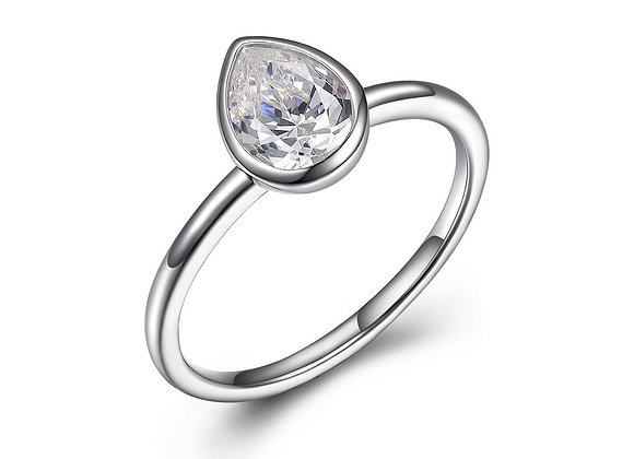 Silver Pear CZ Ring