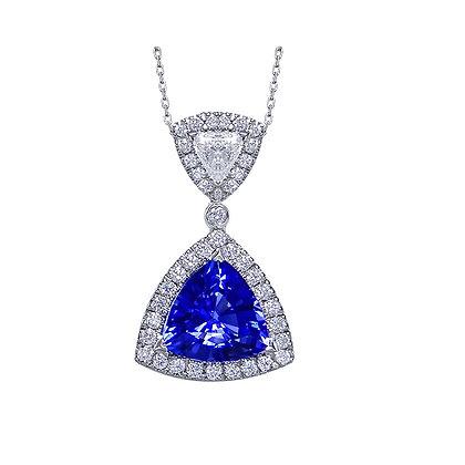 Trillion Cut Tanzanite & Diamond Pendant