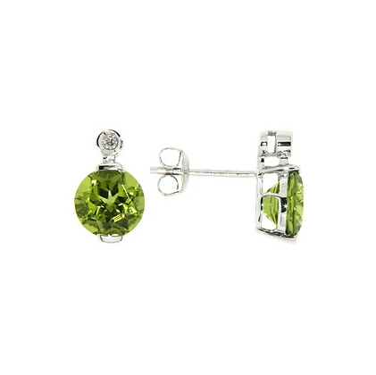 Round Peridot Stud Earrings With Diamond Accent