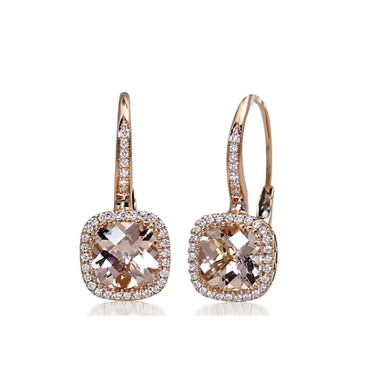 Cushion Cut Morganite & Diamond Halo Earring
