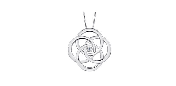 Silver Spiral Medallion Pendant with Canadian Diamond
