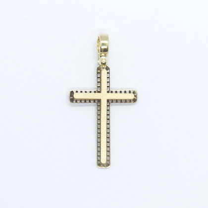 Yellow Gold Textured Cross Pendant (20mm)