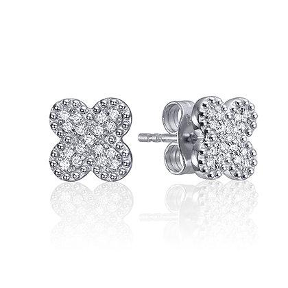 Diamond Clover Stud Earrings