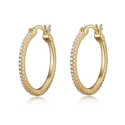 Yellow Gold Plated Cubic Zirconia Hoops