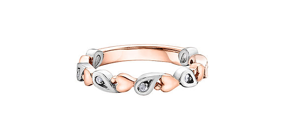 Rose & White Gold Heart & Pear Diamond Stackable Ring