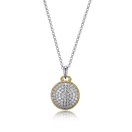 Two Tone Round Cubic Zirconia Locket