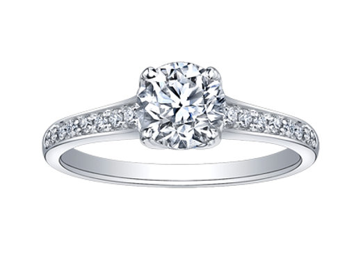 Canadian Diamond Solitaire Engagement Ring in Tulip Setting