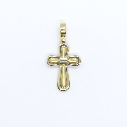 Yellow Gold Rounded Cross Pendant (15mm)