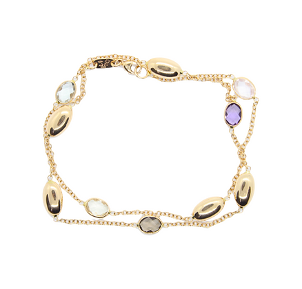 Yellow Gold Amethyst & Quartz Necklace