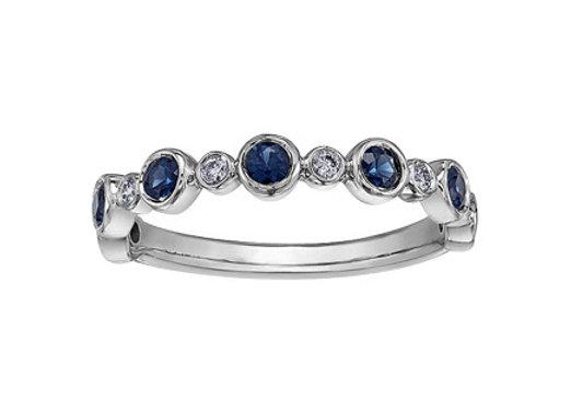 Sapphire Diamond Round Bezel Set Ring