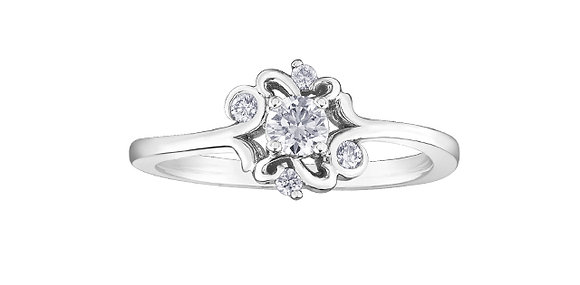 Round Cut Diamond Ring With Accent Diamonds White Gold