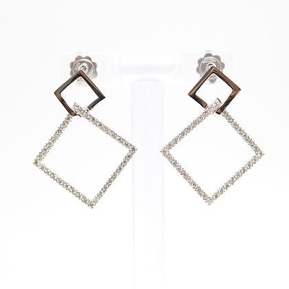 White Gold & Diamond Square Earrings