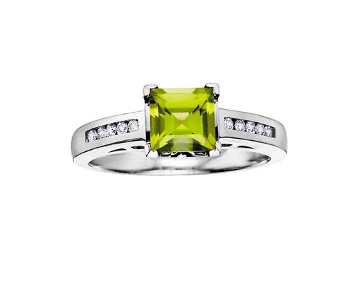 Princess Cut Peridot Ring