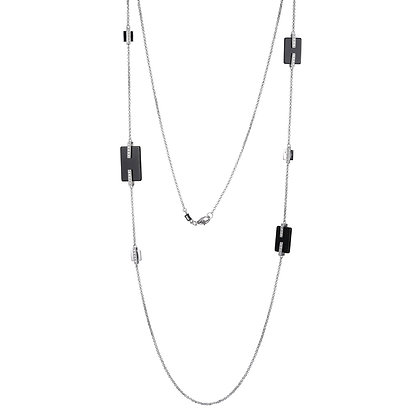 Silver Black Agate Stationed Necklace