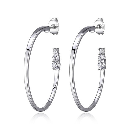Silver Sleek Hoops With Cubic Zirconia Accents (30mm)