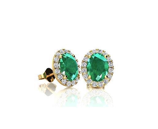 Oval Cut Emerald Studs With Diamond Halo