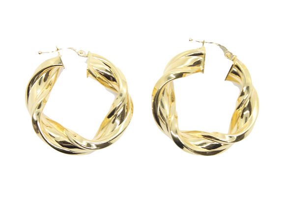 Yellow Gold Thick Twist Hoops