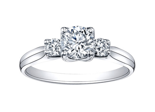 Canadian Diamonds Tulip Setting Trinity Engagement Ring