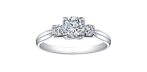 Canadian Diamonds Tulip Setting Trinity Engagement Ring