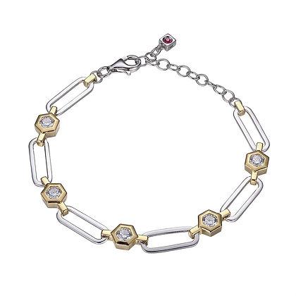 Two Tone Hexagon CX Link Bracelet