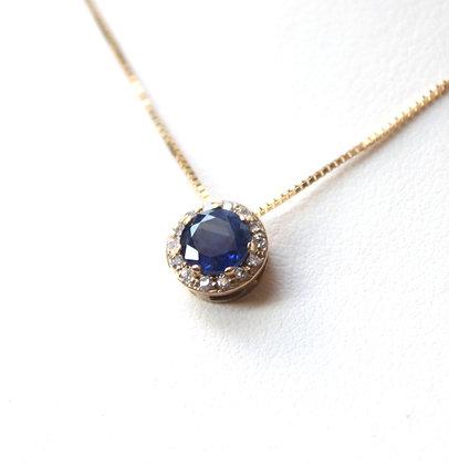 Round Sapphire Pendant With Diamond Halo