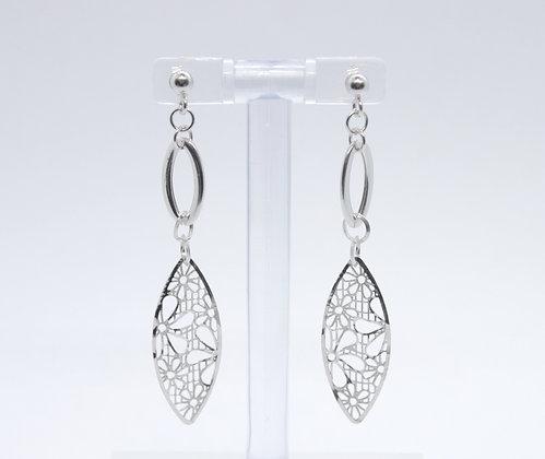 White Gold Flower Oval Drop Earrings