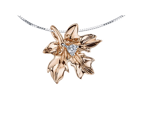 Rose Gold Maple Leaf Pendant With Diamond