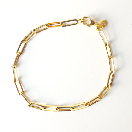 "Yellow Gold Paperclip Chain Bracelet (7.5"")"