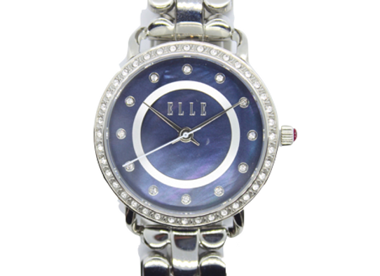 ELLE Stainless Steel Link Watch With Navy Dial
