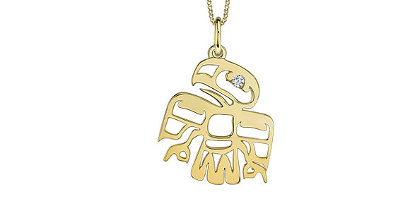 Yellow Gold Eagle Pendant with Canadian Diamond