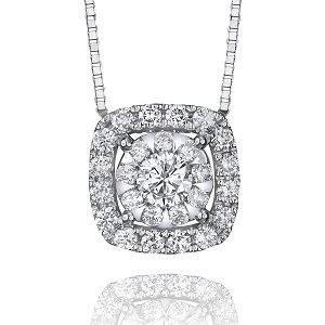 Bouquet Diamond Pendant with Cushion Halo