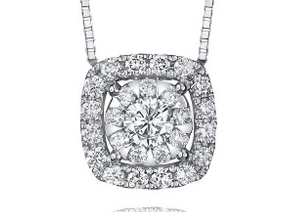 Bouquet Diamond Pendant with Cushion Halo